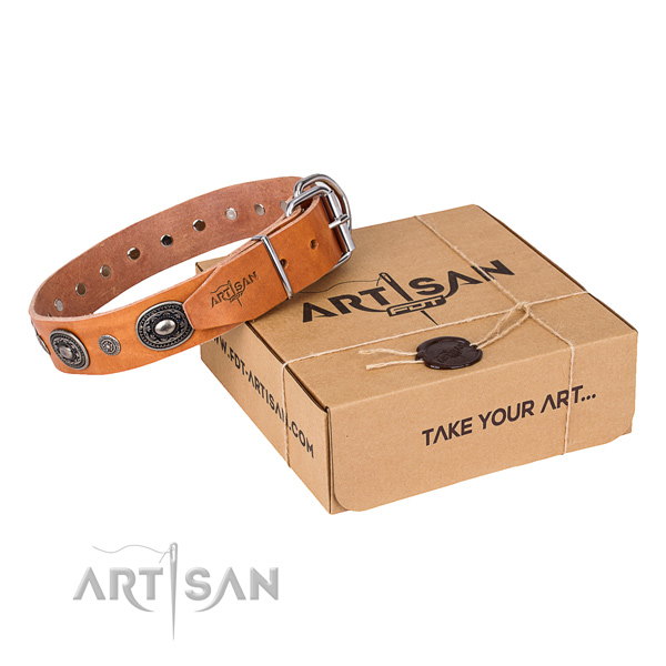 Top notch full grain natural leather dog collar crafted for easy wearing