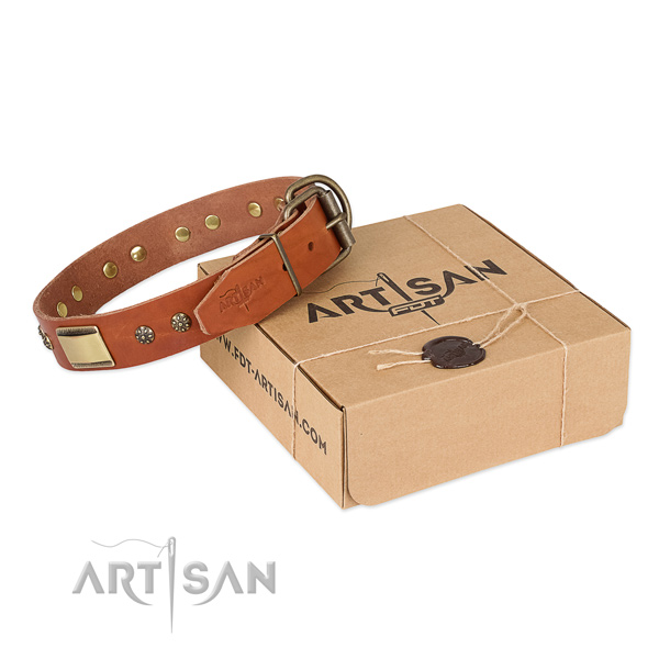 Fine quality full grain natural leather collar for your stylish pet