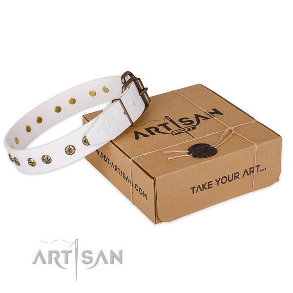 Rust resistant hardware on full grain leather collar for your beautiful pet