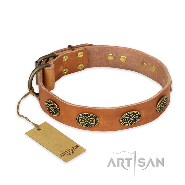 Exceptional full grain leather dog collar with rust resistant traditional buckle