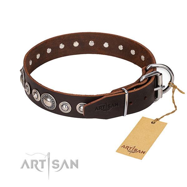 Natural genuine leather dog collar made of best quality material with reliable hardware