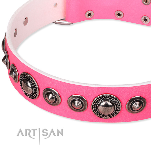 Easy wearing embellished dog collar of fine quality full grain genuine leather