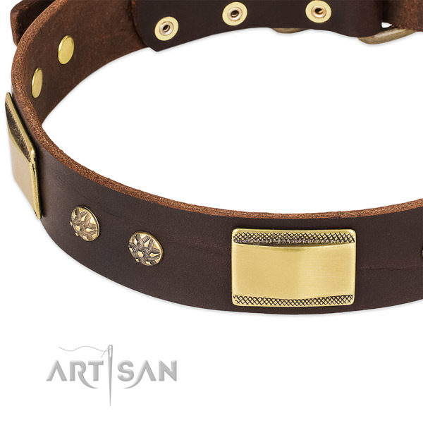 Rust-proof fittings on full grain leather dog collar for your four-legged friend
