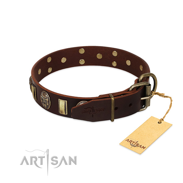 Leather dog collar with corrosion proof traditional buckle and adornments