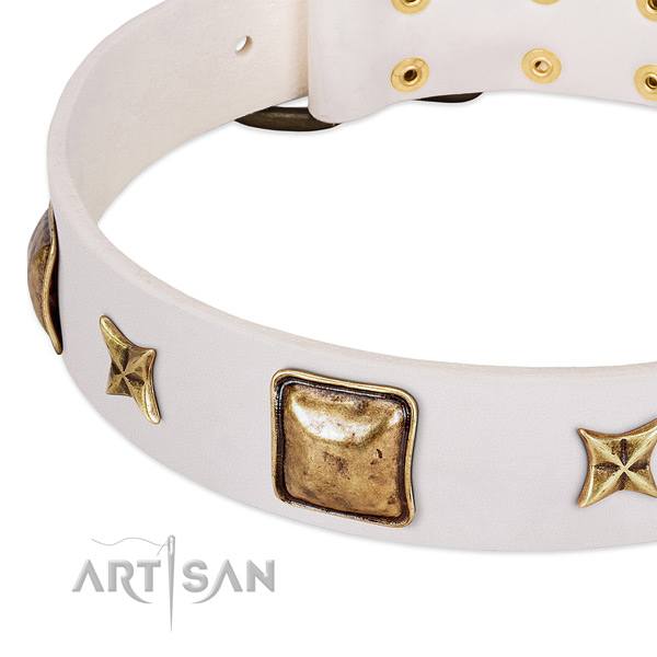 Strong fittings on leather dog collar for your doggie