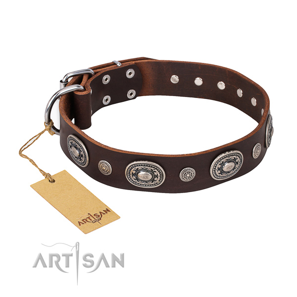 Gentle to touch full grain leather collar handmade for your doggie