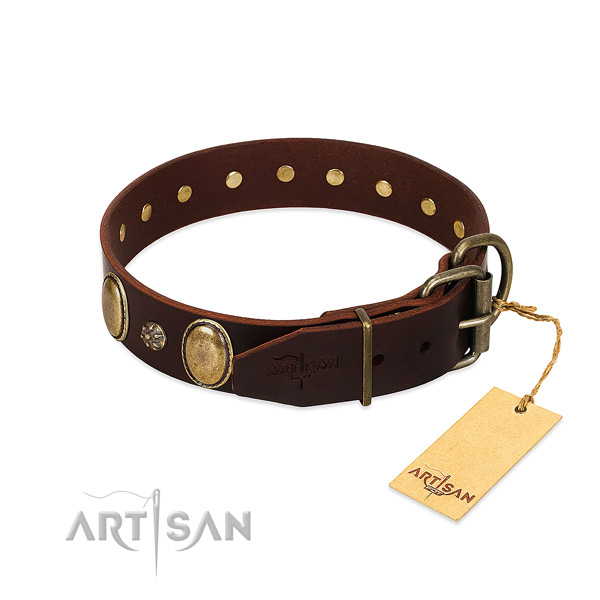 Everyday use gentle to touch full grain natural leather dog collar