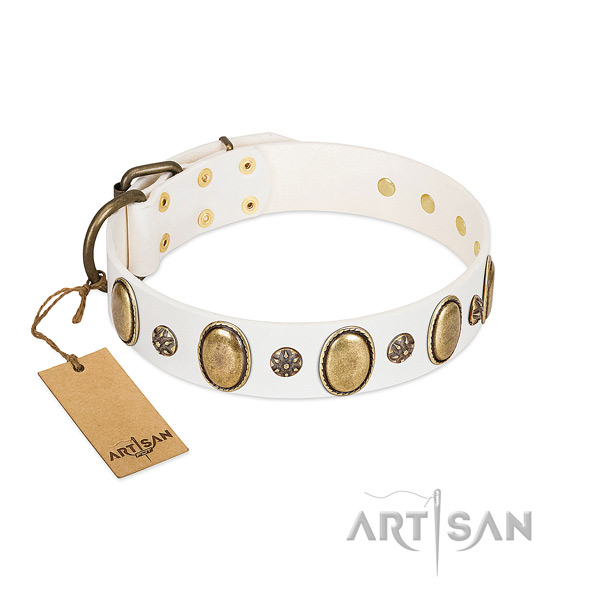 Stylish walking gentle to touch natural genuine leather dog collar with adornments