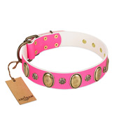 """Hotsie Totsie"" FDT Artisan Pink Leather Cane Corso Collar with Ovals and Small Round Studs"