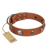"""Amorous Escapade"" Embellished FDT Artisan Tan Leather Cane Corso Collar with Chrome Plated Crossbones and Plates"