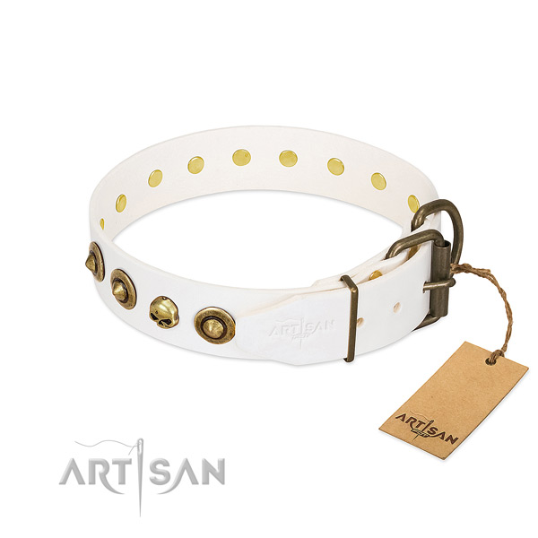 Full grain leather collar with remarkable decorations for your four-legged friend