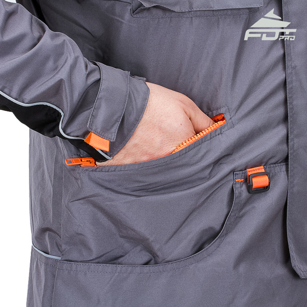 Professional Dog Tracking Jacket with Back Pockets for All Weather Use