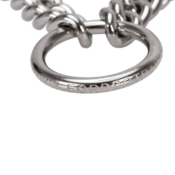 Dependable stainless steel O-ring on prong collar