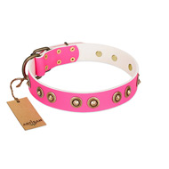 """Bright Delight"" Pink FDT Artisan Leather Cane Corso Collar with Large Old Bronze-like Plated Studs"