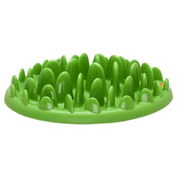 Green grass shaped Cane Corso feeder