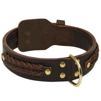 Stylishly decorated with braids Cane Corso leather collar