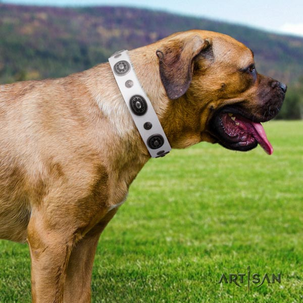 Cane Corso top notch embellished full grain natural leather collar