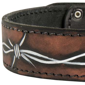 Designer Mastino dog collar with hand painting