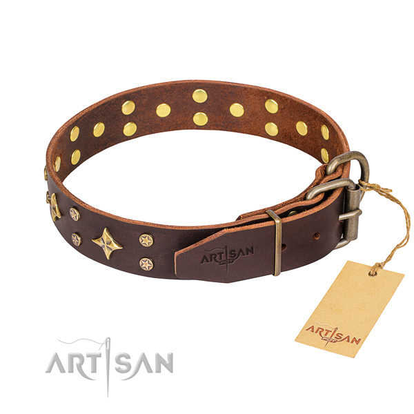 Handy use full grain genuine leather collar with studs for your four-legged friend