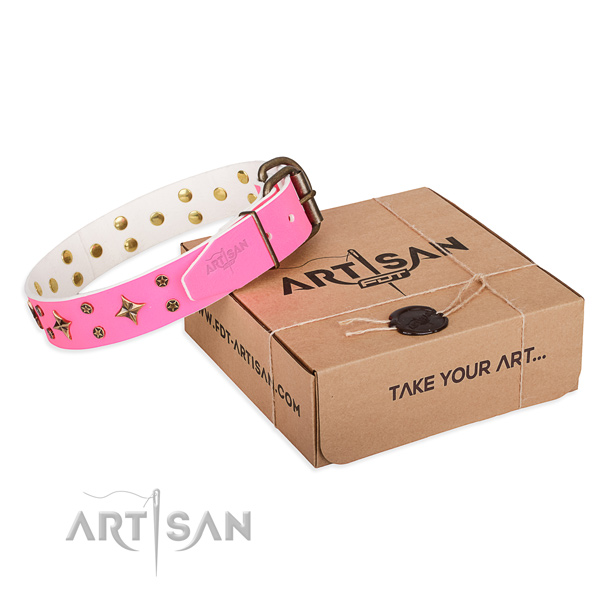 Decorated natural genuine leather dog collar for comfortable wearing