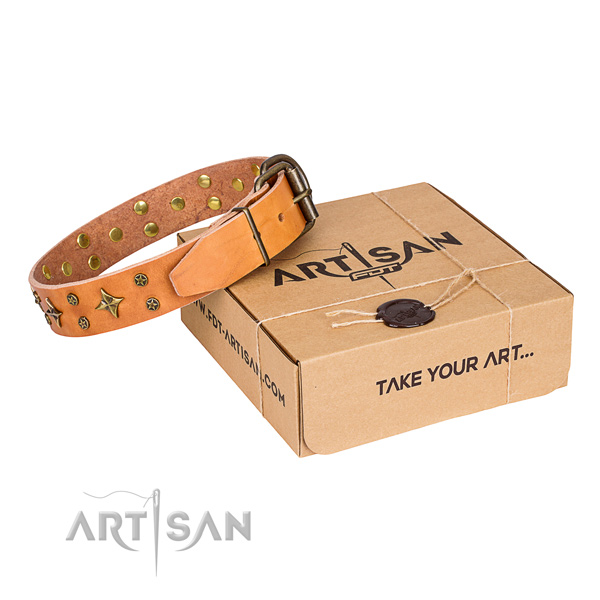 Adorned full grain natural leather dog collar for comfortable wearing