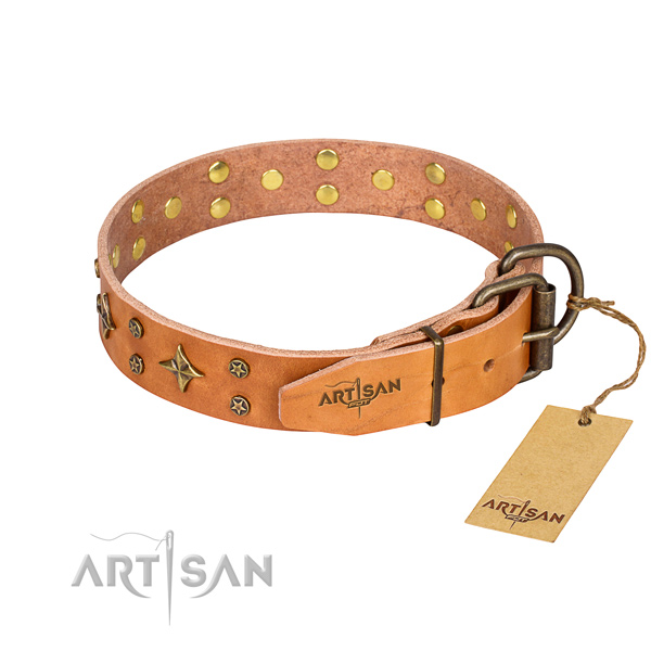 Handy use natural genuine leather collar with adornments for your four-legged friend