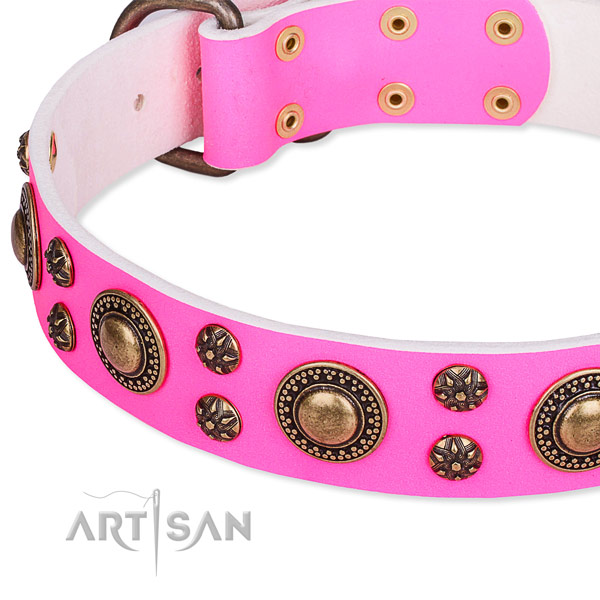 Natural genuine leather dog collar with fashionable adornments