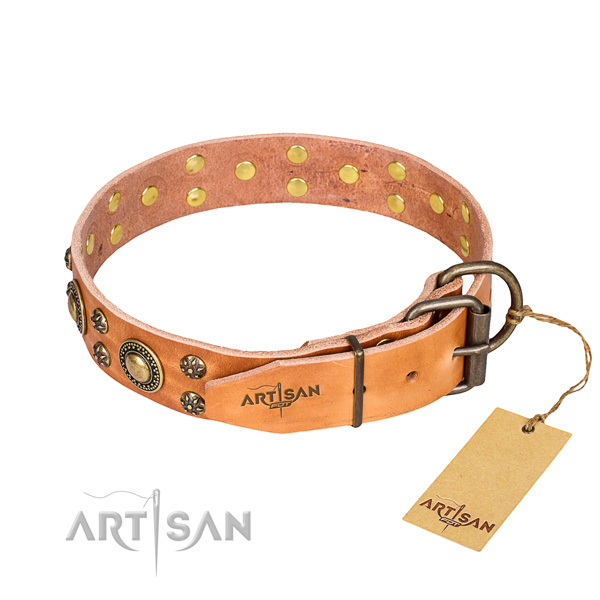 Handy use full grain natural leather collar with adornments for your four-legged friend