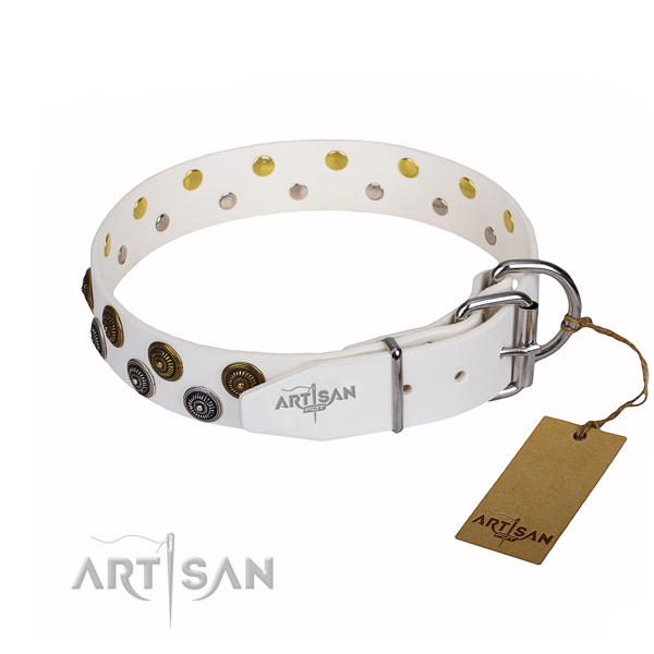 Daily walking full grain genuine leather collar with decorations for your four-legged friend