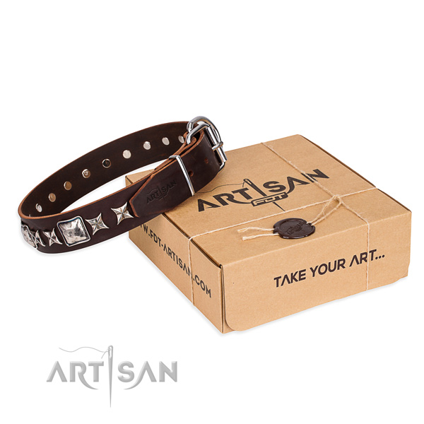 Embellished natural genuine leather dog collar for daily use