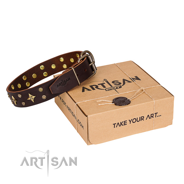 Adorned full grain leather dog collar for comfortable wearing