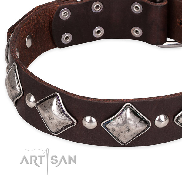 Adjustable leather dog collar with extra strong chrome plated buckle and D-ring