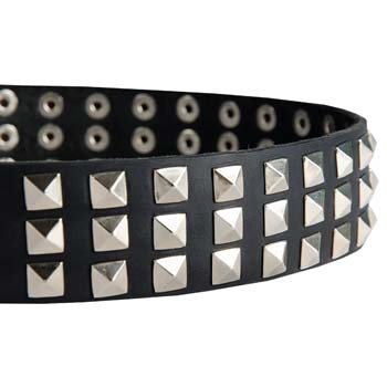 Nickel plated pyramids of fashion leather Cane Corso collar