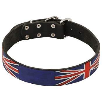 Walking leather dog collar for Cane Corso with Union Jack painting