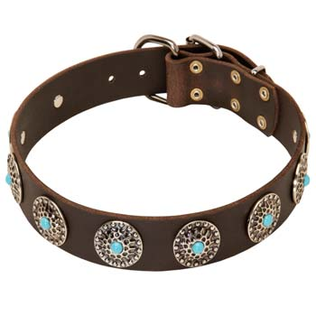 Blue stone inlay leather dog collar