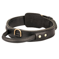 Wide leather Cane Corso dog collar with handle