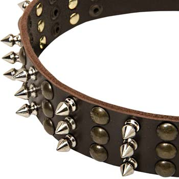 Strong Leather Collar with Spikes and Studs