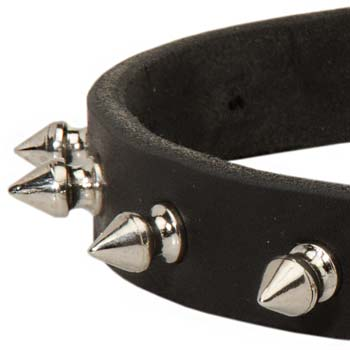 Strong Leather collar with Spiked
