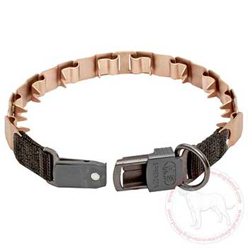 Neck tech dog collar with click lock buckle
