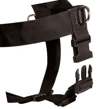 Heavy-duty washable nylon dog harness with easy  quick-release buckle-system