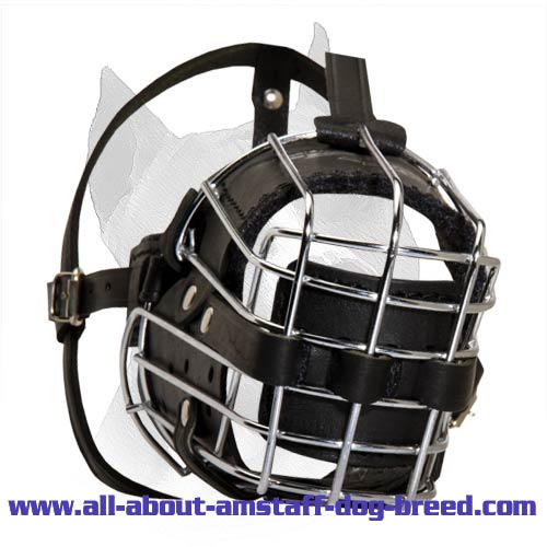'No Mash' Leather Padded Wire Basket Muzzle for Cane Corso