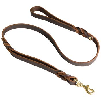 Leather Cane Corso Leash with brass snap hook