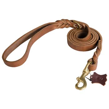 Durable Leather Leash for Cane Corso Training