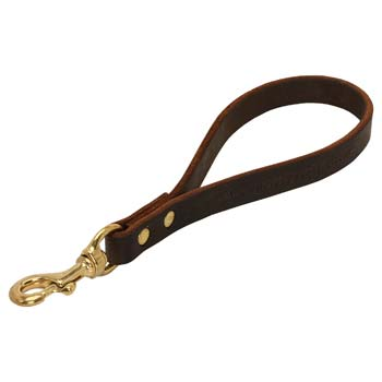 Sort Leather Leash for Cane Corso with Brass Riveting