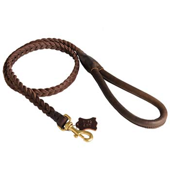 Exclusive dog leather lead hand braided
