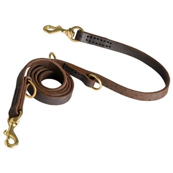 Heavy-duty leather dog leash with 2 floating O-rings