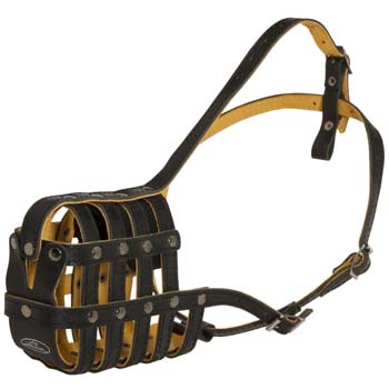 Lightweight leather dog muzzle