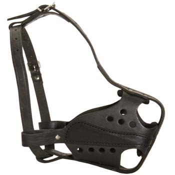 Handmade good dog muzzle made of thick prime leather